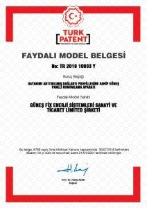 Güneşfix - FAYDALI MODEL-10933