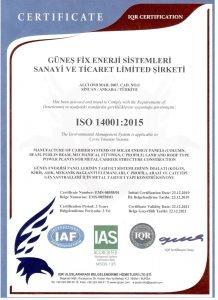 Güneşfix - ISO 14001-2015